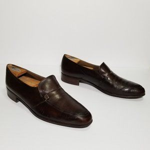 Bally Continentals Brown Leather Slip On Loafers